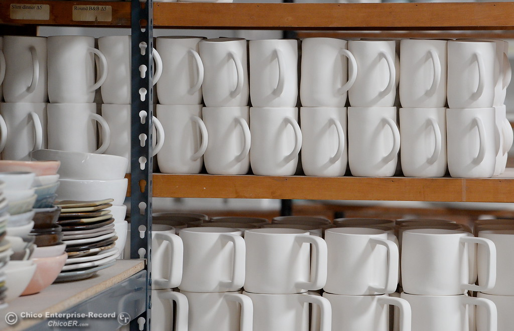 . Ceramics are seen on a shelf at Alex Marshall Studios on Nelson Street in Chico, Calif. Thurs. May 24, 2018. (Bill Husa -- Enterprise-Record)