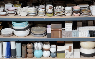 Ceramics are seen on a shelf at Alex Marshall Studios on Nelson Street in Chico, Calif. Thurs. May 24, 2018. (Bill Husa -- Enterprise-Record)