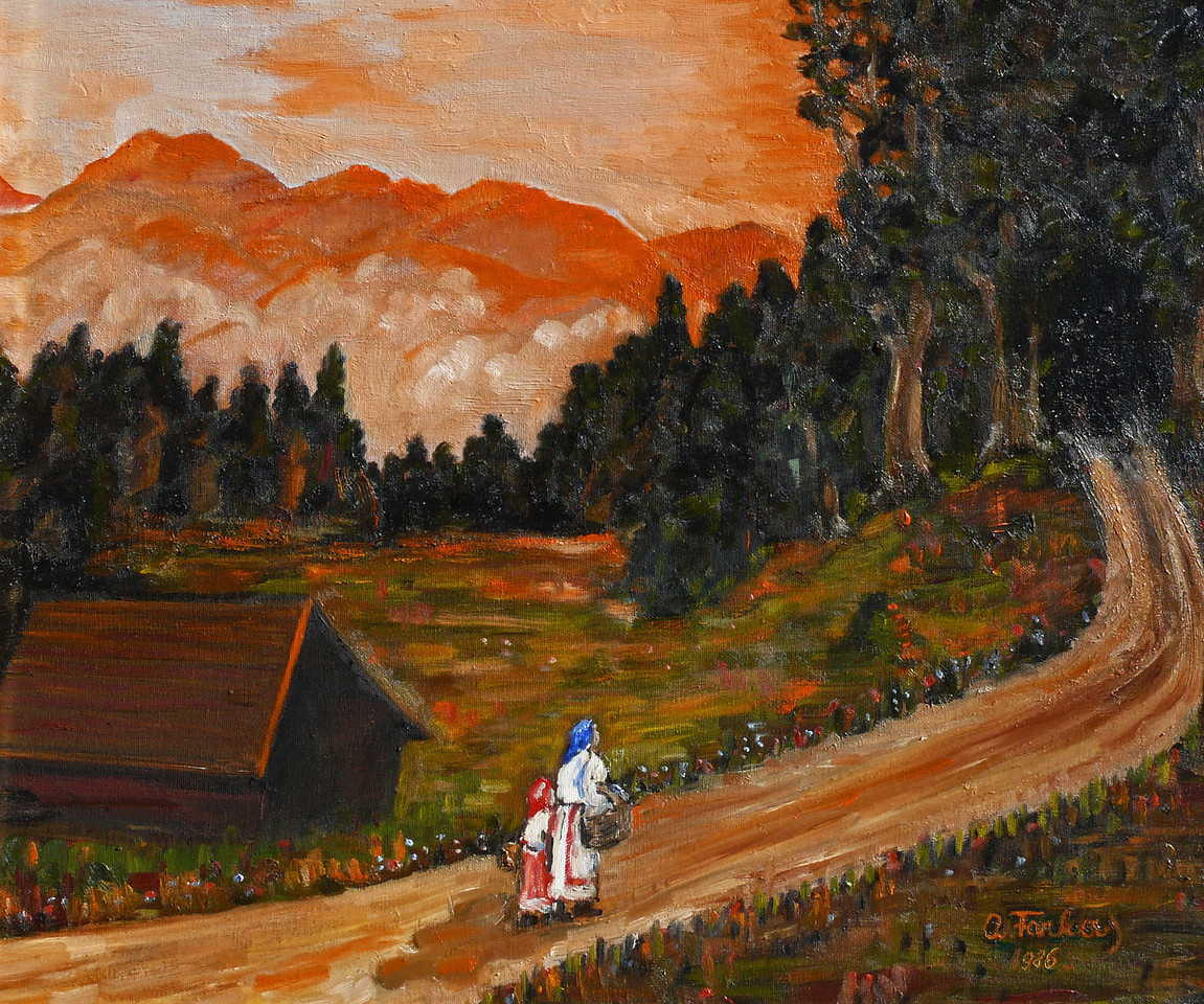 322 Woman on Road - Oil