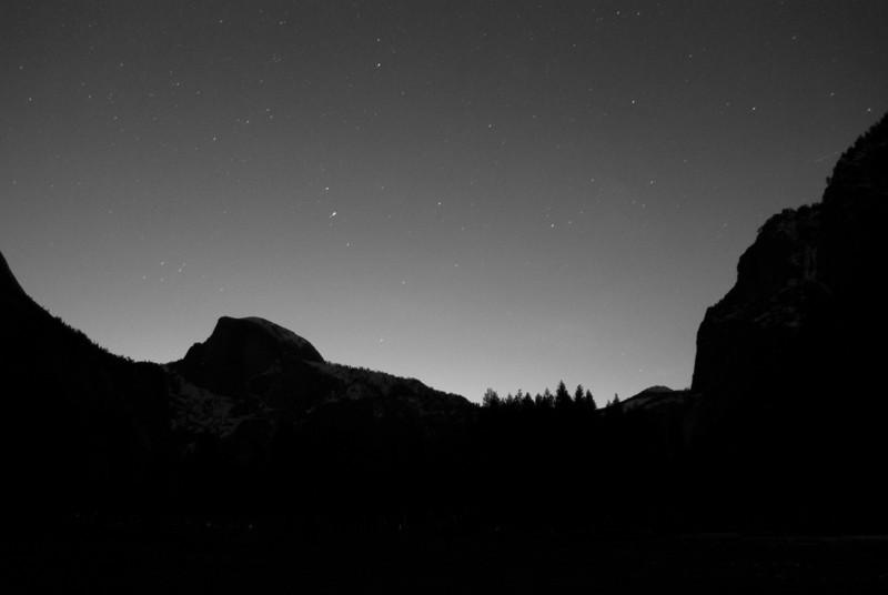 Yosemite at Night B&W