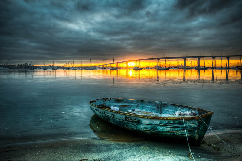 Abandoned Boat at Sunrise over San Diego Bay