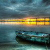 Abandoned Boat at Sunrise over San Diego Bay