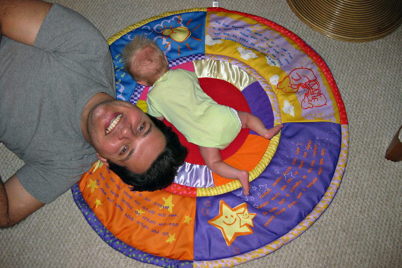 Daddy and Alex during tummy time.