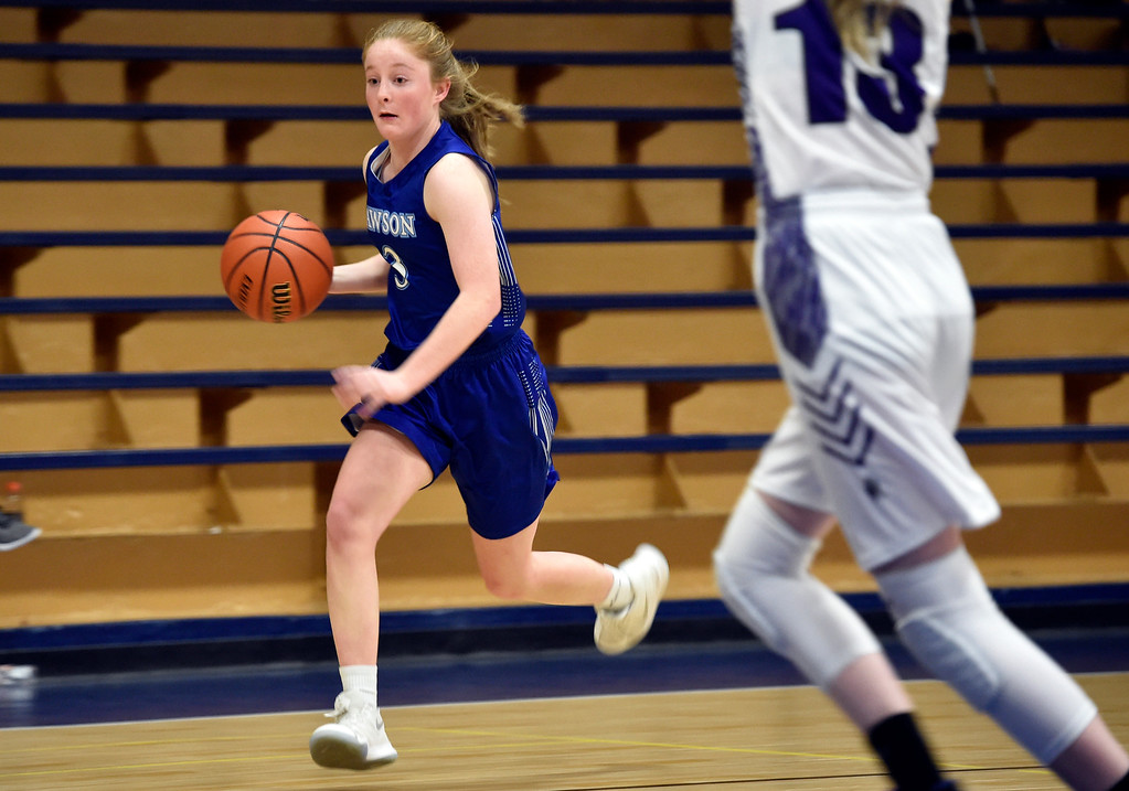 . LONGMONT, CO - JANUARY 08, 2019: Alexander Dawson\'s Madison Day dribbles down the court during a game against the Longmont Christian on Tuesday, Jan. 08, in Longmont. More photos: BoCoPreps.com (Photo by Jeremy Papasso/Staff Photographer)