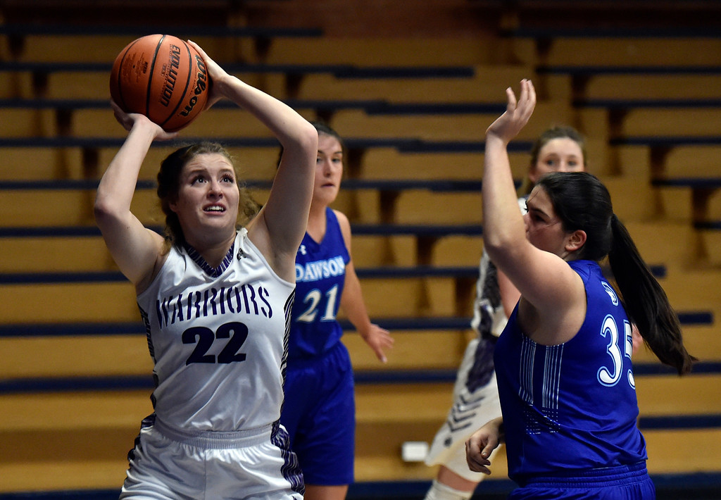 . LONGMONT, CO - JANUARY 08, 2019: Longmont Christian\'s Savannah Vrooman takes a shot during a game against the Alexander Dawson School on Tuesday, Jan. 08, in Longmont. More photos: BoCoPreps.com (Photo by Jeremy Papasso/Staff Photographer)