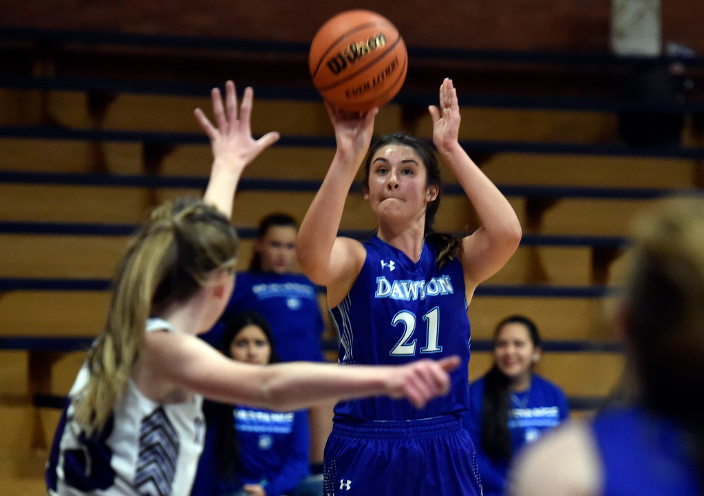 . LONGMONT, CO - JANUARY 08, 2019: Alexander Dawson\'s Maddy Timms takes a shot during a game against the Longmont Christian on Tuesday, Jan. 08, in Longmont. More photos: BoCoPreps.com (Photo by Jeremy Papasso/Staff Photographer)