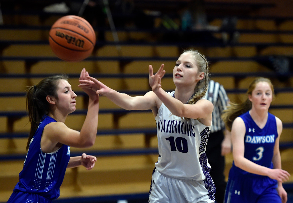 . LONGMONT, CO - JANUARY 08, 2019: Longmont Christian\'s Sammie Johnson passes to a teammate during a game against the Alexander Dawson School on Tuesday, Jan. 08, in Longmont. More photos: BoCoPreps.com (Photo by Jeremy Papasso/Staff Photographer)