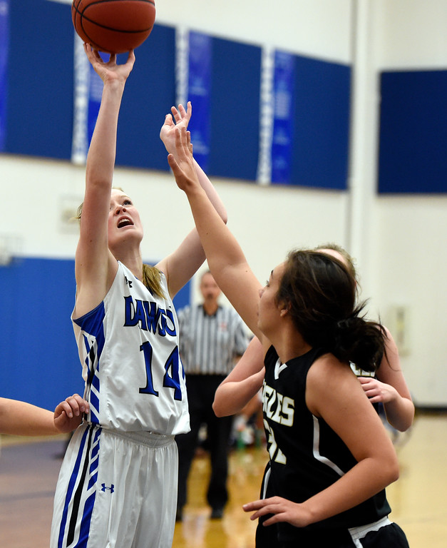 . Alexander Dawson\'s Kate Gallop takes a shot during a game against Rocky Mountain Lutheran High School on Monday in Lafayette. More photos: www.BoCoPreps.com Jeremy Papasso/ Staff Photographer 12/04/2017