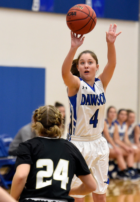 . Alexander Dawson\'s Kaitlyn Day sinks a three-pointer during a game against Rocky Mountain Lutheran High School on Monday in Lafayette. More photos: www.BoCoPreps.com Jeremy Papasso/ Staff Photographer 12/04/2017