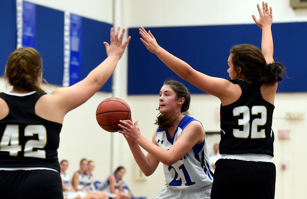 . Alexander Dawson\'s Maddy Timms passes to an open teammate during a game against Rocky Mountain Lutheran High School on Monday in Lafayette. More photos: www.BoCoPreps.com Jeremy Papasso/ Staff Photographer 12/04/2017