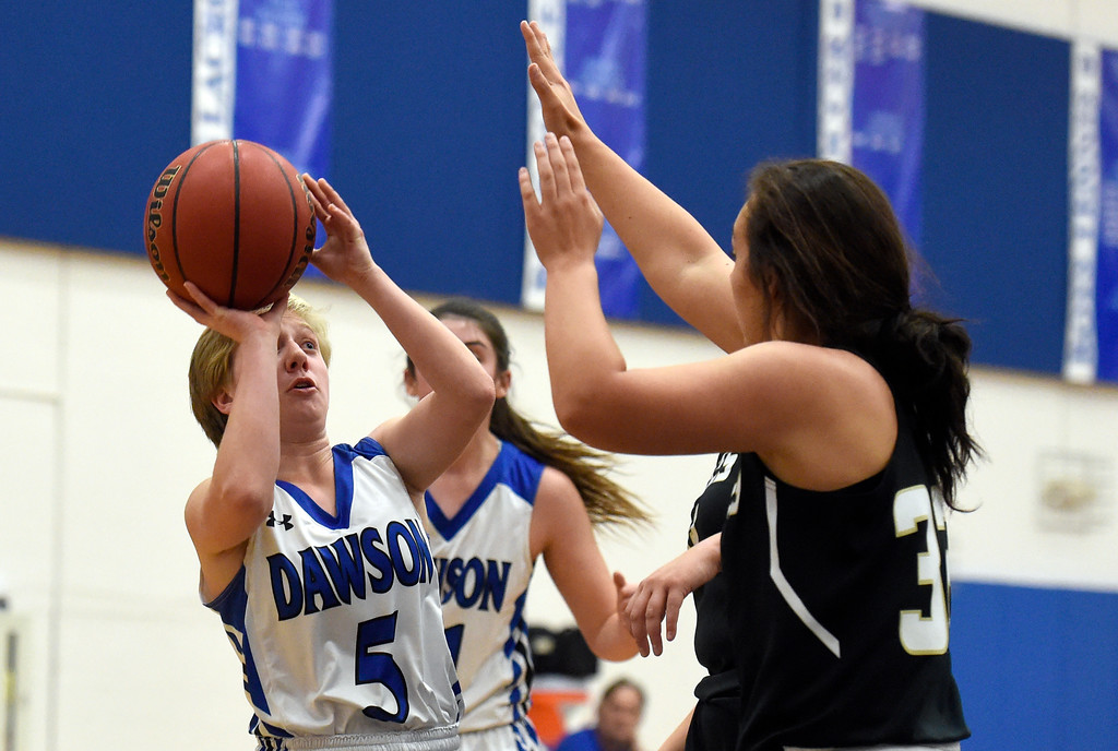 . Alexander Dawson\'s Emily Hicks takes a shot during a game against Rocky Mountain Lutheran High School on Monday in Lafayette. More photos: www.BoCoPreps.com Jeremy Papasso/ Staff Photographer 12/04/2017
