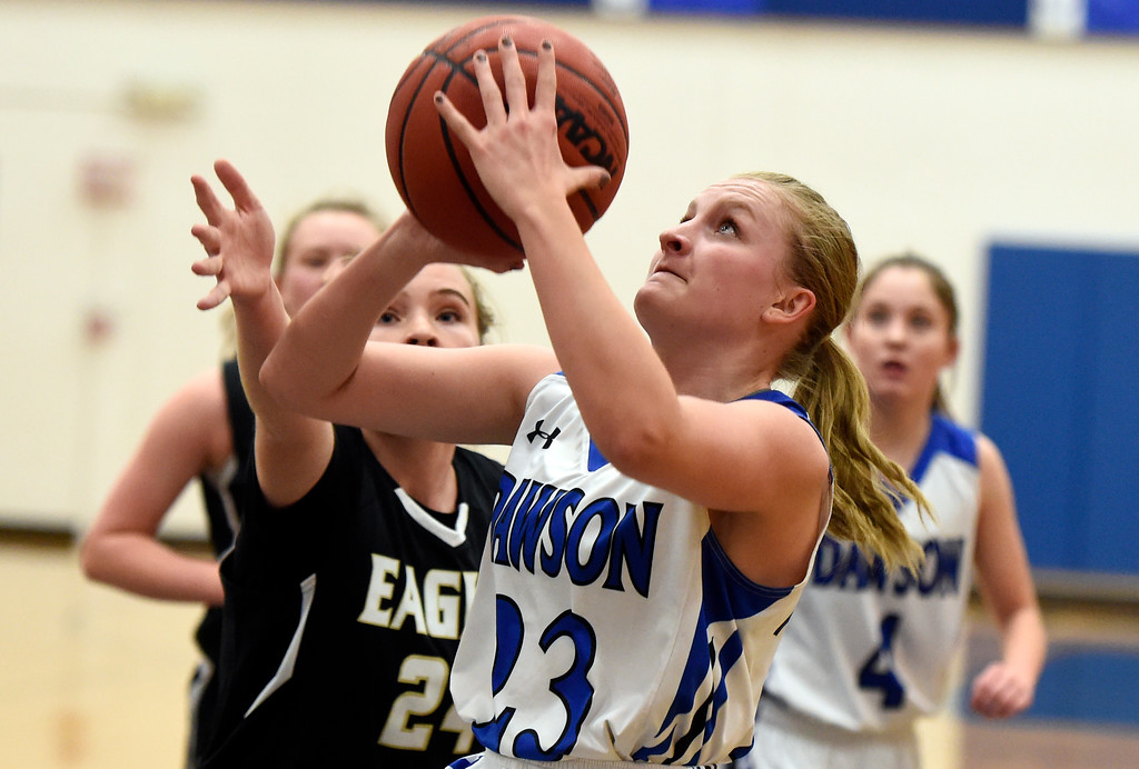 . Alexander Dawson\'s Amelia Boone takes a shot during a game against Rocky Mountain Lutheran High School on Monday in Lafayette. More photos: www.BoCoPreps.com Jeremy Papasso/ Staff Photographer 12/04/2017