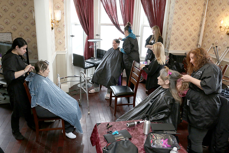 Cosmetologist from Alexander Academy in Lunenburg went to Village Rest Home in Leominster on Thursday February 16, 2017 to give residence a make over. SENTINEL & ENTERPRISE/JOHN LOVE