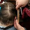 Resident of Village Rest Home Geraldene Collins gets her hair done by Cosmetologist Arilyn Franco from Alexander Academy in Lunenburg on Thursday February 16, 2017. SENTINEL & ENTERPRISE/JOHN LOVE