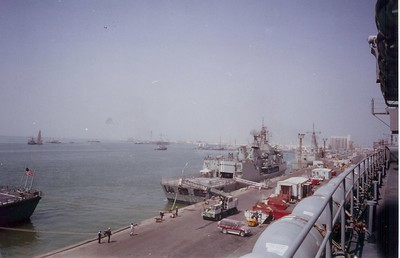 The pier of Bahrain taken from the Denver. The ship in the picture is an Aussie ship.