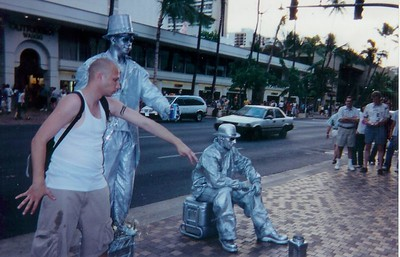 Two are painted silver and one fool...in Hawaii.
