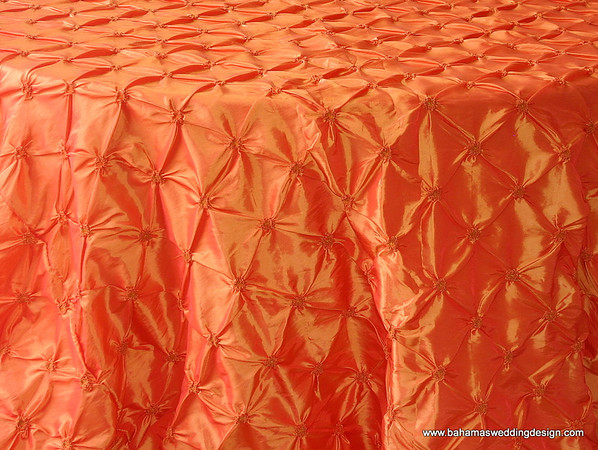 "Rosette Taffeta - Tangerine Available Linens: 90"" X 90"""