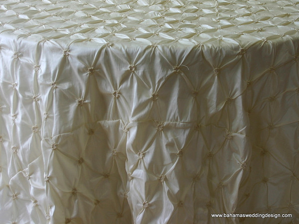 "Rosette Taffeta - Ivory Available Linens: 90"" X 90"""