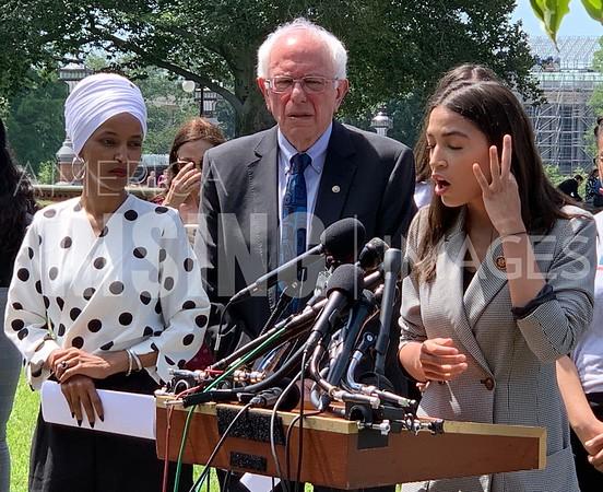 Sanders, Ocasio-Cortez, Omar, and Jayapal at Student Debt Press Conference in Washington, DC - IMAGE