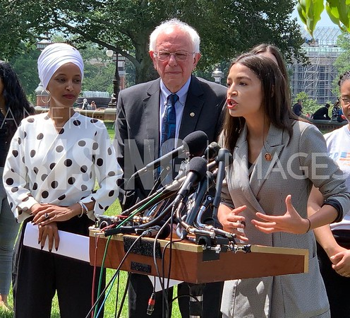 Sanders, Ocasio-Cortez, Omar, and Jayapal at Student Debt Press Conference in Washington, DC - IMAGE