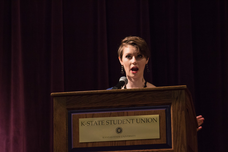 Alexis Wineman, the first Miss America contestant to be on the autism spectrum, speaks at the K-State Student Union Ballroom on October 3rd. She is dedicated to building awareness and acceptance about autism and encourages everyone to aim high, because anything is possible.  (Sarah Millard| Collegian Media Group)
