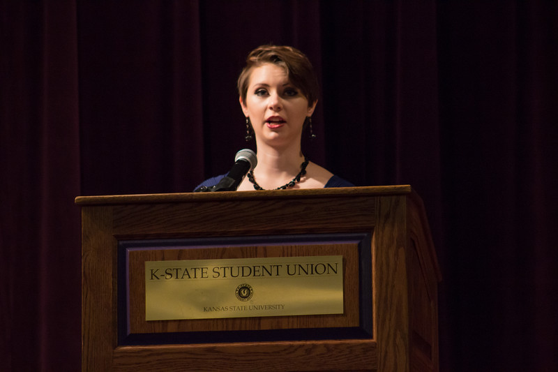 Alexis Wineman speaks to K-State Students on October 3rd about her story, and encourages them to reach and aim high. Alexis is the first Miss America contestant to be on the autism spectrum, and is dedicated to builing acceptance and awareness of autism.  (Sarah Millard| Collegian Media Group)