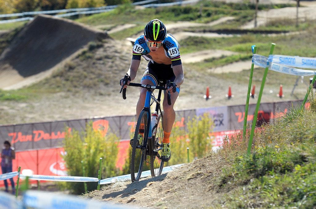 . BOULDER, CO - October 13, 2018: Kelton Williams comes around the corner  during the men\'s junior race at the Alfalfa�s Eldora US Open cyclocross championship at Valmont Bike Park in Boulder.  (Photo by Cliff Grassmick/Staff Photographer)