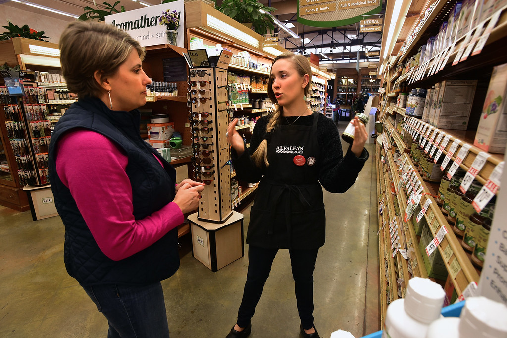 . Customer Anne Buckley, left talks with Luna Valin in the vitamin area of Alfalfa\'s Market in Boulder on Monday. For more photos go to dailycamera.com. Paul Aiken Staff Photographer Nov 13, 2017