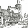 F0684 <br /> Tekening uit 1948 van de herv. kerk van Leo K. Zelden vanaf het vroegere Hortuslaantje. Het huis links werd eertijds bewoond door de fam. Spierenburg. De situatie is in later jaren grondig veranderd. Het pad dat voor langs de kerkhofmuur loopt, is hoogstwaarschijnlijk de 'Kleejenklop'. Kleden werden over de muur gehangen, zodat ze gemakkelijk geklopt konden worden. Enkele notabelen hadden dat voorrecht, tegen betaling van ƒ 2,50 per jaar aan de kerk