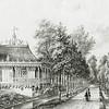 F2147<br /> Het fraaie 'Chineesch Gebouw' (theekoepel) van het Huis Ter Wegen, gelegen aan de Heerenweg, thans Hoofdstraat, ter hoogte van de Warmonderdam naar een litho van P.J. Lutgers uit 1855. Zie verdere beschrijving in Aschpotter nr 31, pag. 20.