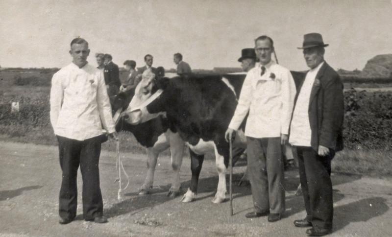 F4513<br /> Bevrijdingsoptocht. Foto: 1945.<br /> Jaap Couvée en slager Van der Meij staan op de foto.