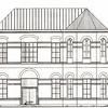 F2145<br /> De door de architect voorgestelde `verbouwde' gevel van het voormalige St. Annaklooster, beoogd als grand café en de achterliggende supermarkt met parkeerplaats op het dak.