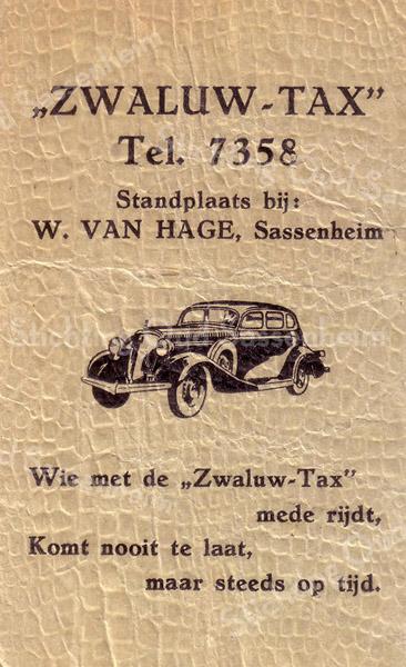 F2982 <br /> Een suikerzakje van het taxibedrijf Zwaluw-taxi. Eigenaar van dit bedrijf was dhr. Van Zoen.