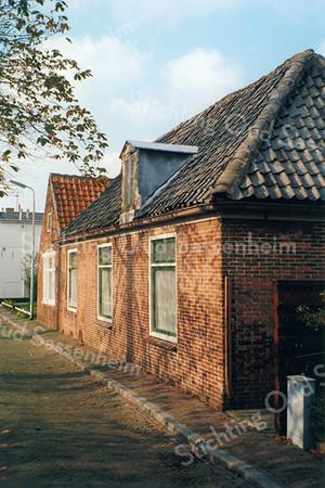 F0085 <br /> Kastanjelaan 12 en 13, gezien vanuit oostelijke richting. Het rechter pand, nr. 13, werd bewoond door J.L. Suchail; het linker pand, nr. 12 wordt bewoond door H.H. Witteman. Later werden op deze plek nieuwe woningen gebouwd. Het witte pand uiterst links is Kastanjelaan 5. Foto: 1996.