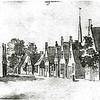 F0635 <br /> Gewassen pentekening met Oost-Indische inkt van Cornelis Pronk (Rijksprentenkabinet Amsterdam). Voor zover ons bekend is dit de oudste afbeelding waarop ook de herberg 't Bruine Paard moet staan (namelijk rechts achteraan de straatweg vóór de bomen). Foto: begin 18de eeuw.