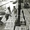F0932l <br /> Hier is personeel van Gebr. Van Zonneveld & Philippo, bezig  met het laden van de bollenkisten op de schuit (motorvlet) van Molenaar. Hij vervoerde de bollenkisten via de Zandsloot en de Kagerplassen naar de Oosthaven, waar ze in grotere schuiten werden overgeladen voor vervoer te water naar Rotterdam.