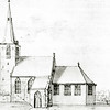 F2141<br /> De Ned.-herv. kerk (Dorpskerk) te 'Sashem'  in 1730. Let op het in de 12de eeuw aangebouwde ingangsportaal.