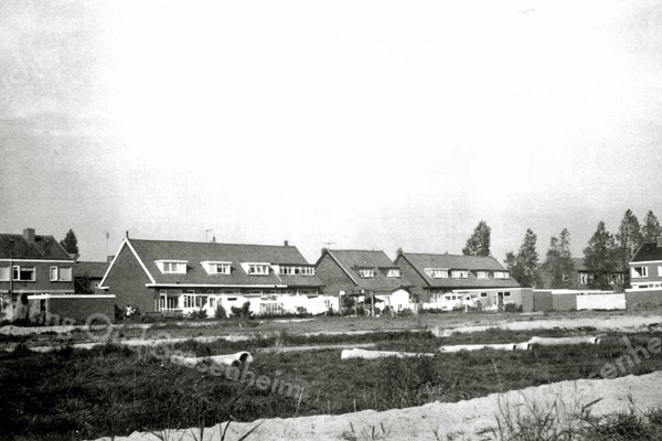 F0266 <br /> Uitbreiding plan De Kooi. In het midden de achterkant van de tien oudere huizen aan de Platanenlaan. Uiterst links de nieuwe huizen aan de Platanenlaan. Rechts de huizen van de Joseph Elststraat en uiterst rechts de huizen aan de toenmalige Kagerstraat. Foto: midden jaren '60.