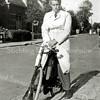 F2665<br /> Dhr. Fer de Zwart op de fiets.  Hij was kapper. De foto is gemaakt in Voorhout.