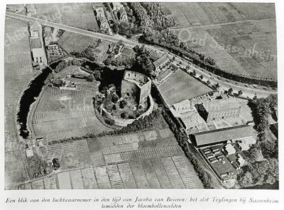F0048 <br /> Een luchtopname van de ruïne van Teylingen, de Teijlingerlaan en de bebouwing in de omgeving. Rechtsonder de bollenschuur van de Gebr. Bergman. In het midden, net boven de ruïne het huis van de fam. Kühn en het huisje van Van Klaveren, waar toen nog de fam. Scheepmaker woonde. Links van de ruïne een kleine scheepswerf, later van De Bruijn. Boven in het midden de huizen van Piet Zeestraten (rechts) en Hein Zeestraten (links). De bollenschuur van Papendrecht - v.d.Voet is er nog niet.   Foto: eind jaren twintig.