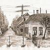F3305<br /> Pentekening van boerdeij Duivenvlugt aan de Haarlemmertrekvaart, gemaakt door Hans Roest.