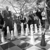 F4144 <br /> De ingebruikname van het schaakspel in park Rusthoff. Links burgemeester Kret.