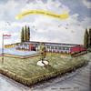 f3197<br /> Een herinneringstegel, uitgegeven bij de opening van het 'oude' Rijnlands Lyceum.  Foto: september 1972.<br /> Collectie C. Pieterse.