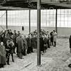 F2291<br /> Nieuwbouw van Drukkerij De Gruijter tegenover de St. Bernardus. Uiterst links vooraan v.l.n.r.: Klaas Colijn, nb, Wim Snijders, Arie Kopier. Links van de paal (in het midden) staat A.J.W. Janmaat. De officiële ingebruikname was op 29 september 1961.