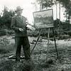 F4292b<br /> Casper Verlint, kunstschilder en klokkenmaker, aan het werk.