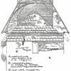 F2144<br /> Tekening van architect-aannemer P. van der Sterre van de binnenwand van de toren van de Ned.-herv. kerk (Dorpskerk). Duidelijk zichtbaar zijn de 'moeten' van de romaanse daklijst - de driehoekige vorm rondom de B. Daarboven de gotische dakmoet en nog hoger de tegenwoordige dakhoogte.