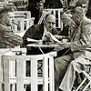 F1900 <br /> V.l.n.r.: de heren J. Verkleij, G. Scholten, G. Lascaris en W. Noordermeer. Zij  stippelen een route uit voor een dagtocht: het jaarlijkse uitje van de R.-K. Middenstandsvereniging St. Olaf.