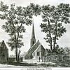 F3208<br /> Een pentekening of ets van de 'kerk te Sassem' (Dorpskerk) anno 1760, gemaakt door Johan Swert.