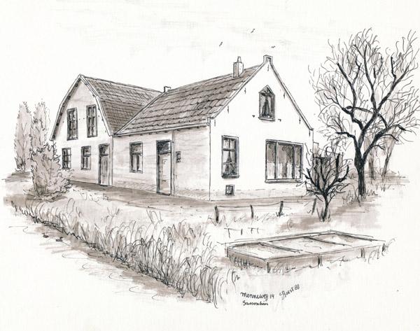 F3315<br /> Menneweg 14, bewoond door Kees Breedijk. Een pentekening, gemaakt door Hans Roest