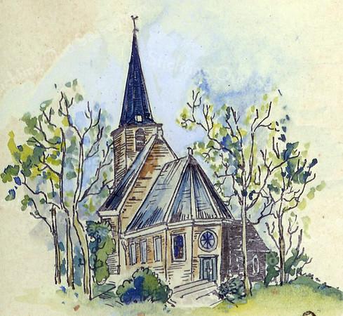 F2360<br /> Een pentekening van de Ned.-herv. kerk (Dorpskerk).